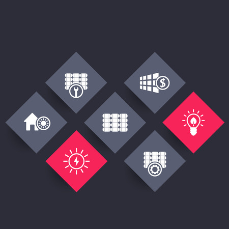 energy use: Solar energy, panels, alternative energetics, renewable energy use, rhombic icons, vector illustration Illustration