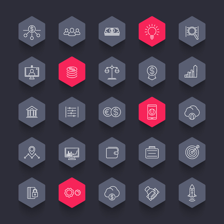 hedge: Venture capital, investments, startup, hedge fund, line hexagon icons pack, vector illustration Illustration