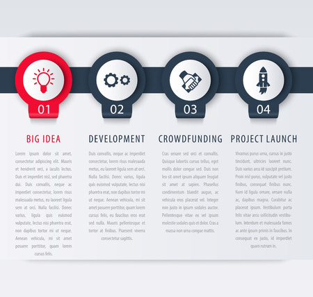 Startup infographic template elements, steps, timeline, vector illustration