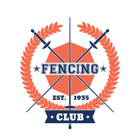 Fencing Club sign, badge with crossed foils, vector illustration