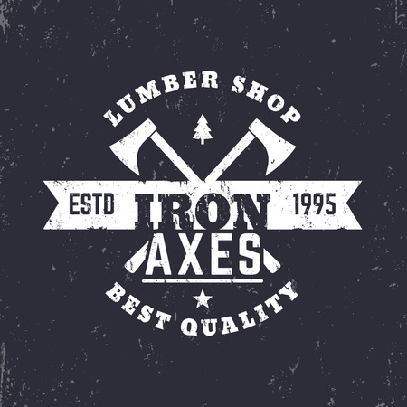 axes: lumber shop vintage  sign with lumberjacks axes, vector illustration Illustration