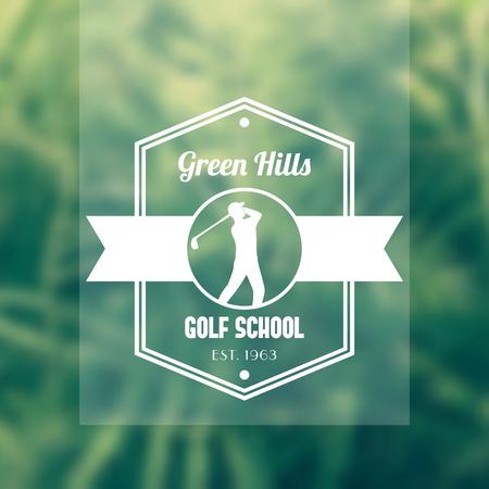 golfer swinging: Golf school   badge, with golf player, golfer swinging golf club, vector illustration