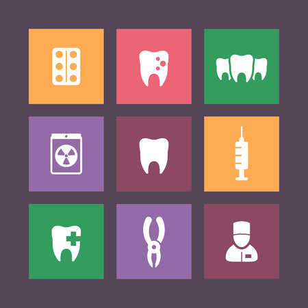 toothcare: Teeth, dental care, tooth cavity, dental pliers, toothcare, stomatology, flat icons, vector illustration