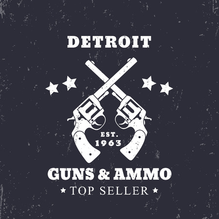 ammo: Detroit Guns and Ammo grunge sign, vector illustration Illustration