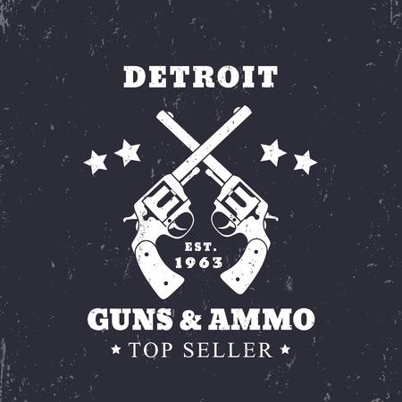 Detroit Guns and Ammo grunge sign, vector illustration Illustration