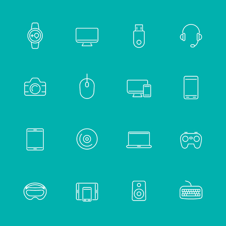 contact icon set: Modern gadgets line icons, isolated set, vector illustration
