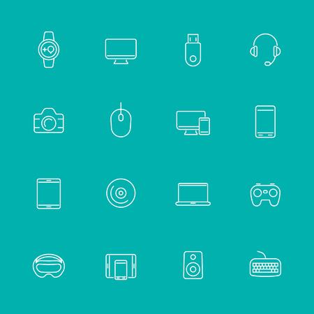 Moderne Geräte Linie Icons, isoliert Set, Vektor-Illustration Standard-Bild - 49348697
