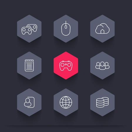 cooperativismo: videojuegos, cooperativo, multijugador, video juegos de consola, iconos hexagonales l�nea, ilustraci�n vectorial Vectores
