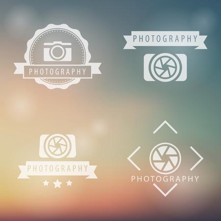 photographer: photography, camera, photographer emblems on blur background, vector illustration