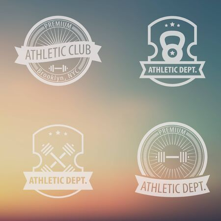 dept: 4 Athletic Dept., Club vintage emblems on blur background, vector illustration