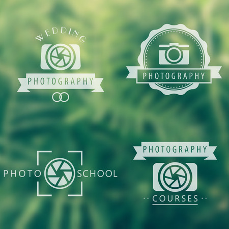 photography background: photography, courses, photo school, photographer  emblems, signs on blur background Illustration
