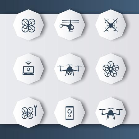 octagonal: Drones modern 3d octagonal icons in dark grey-blue, vector illustration