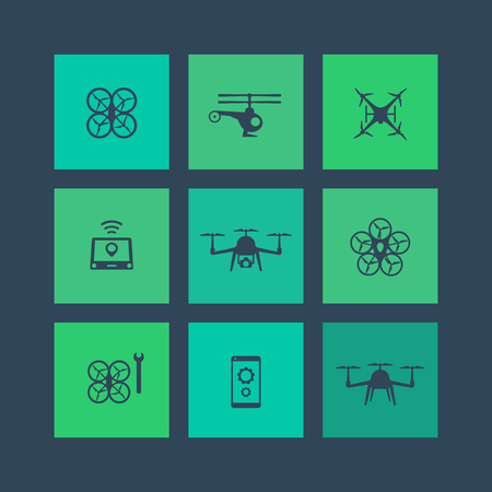 drones: Drones, Tricopter, Multicopter, Quadrocopter square flat icons, vector illustration