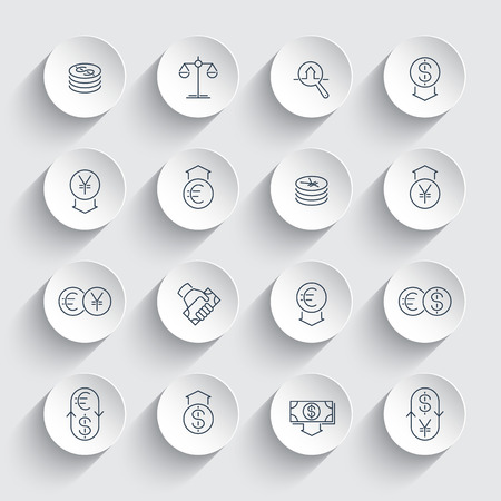 appraisal: Currency, forex trading, finance line icons on round 3d shapes, vector illustration Illustration