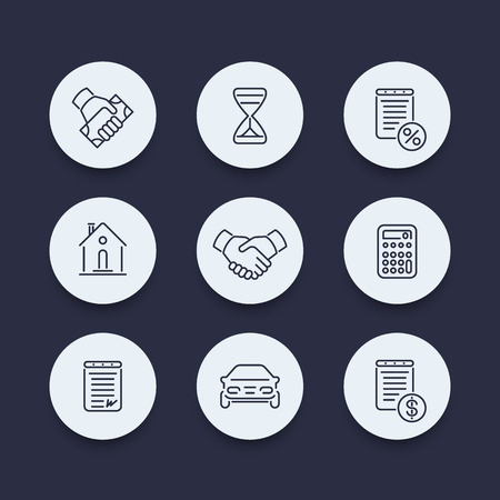 handgrip: Leasing, banking, loan, deal, line round icons, vector illustration Illustration
