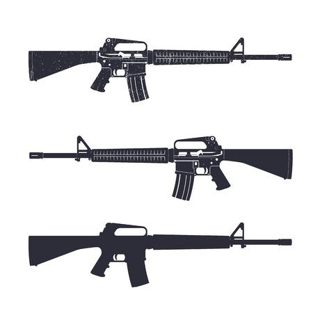 automatic rifle: M16 assault rifle, 5.56 mm automatic gun, vector illustration
