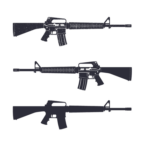 M16 assault rifle, 5.56 mm automatic gun, vector illustration