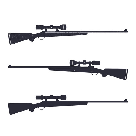 hunting rifle: Hunting rifle with optical sight, sniper rifle, vector illustration