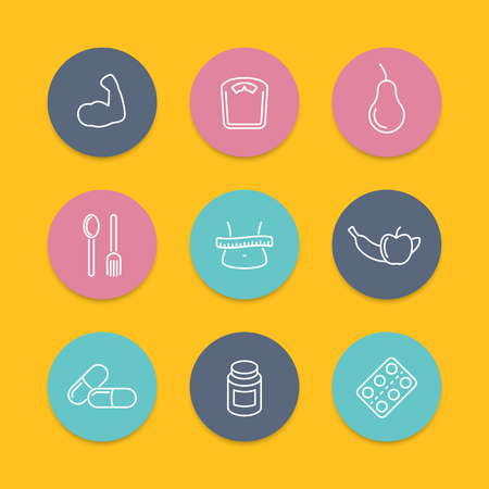 fat loss: Diet, nutrition, fat loss round flat icons, vector illustration