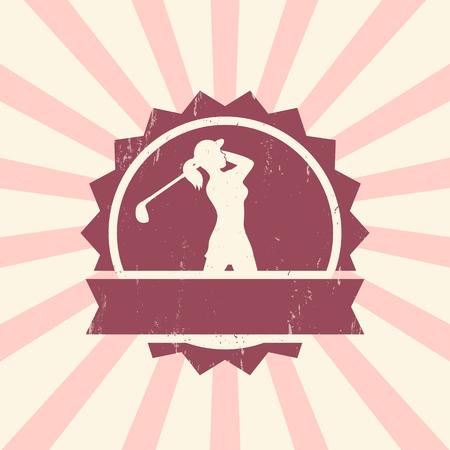 golfer swinging: Golf sign, vintage badge with female golf player, golfer swinging golf club, vector illustration Illustration