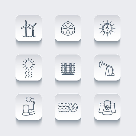 nuke: Power, energy production, energetics, electric industry, line icons, rounded square set, vector illustration