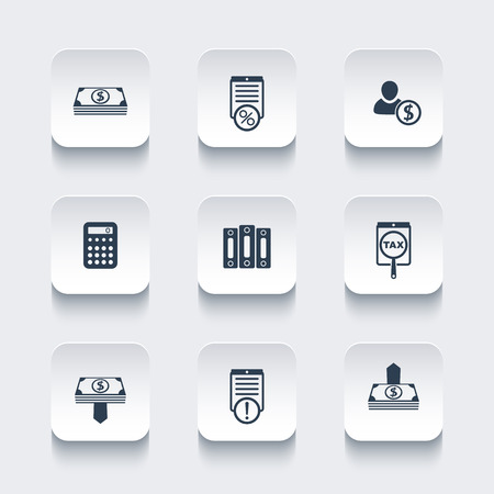 Bookkeeping, finance, payroll, rounded square icons set, vector illustration Stock Vector - 49350392