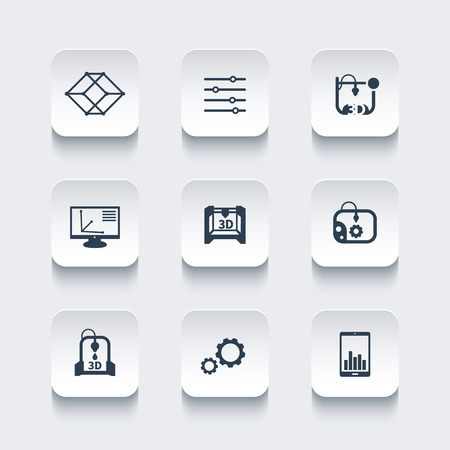 3d printer, printing, modeling, additive manufacturing, rounded square icons set, vector illustration