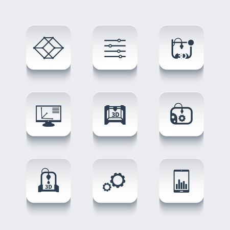 additive manufacturing: 3d printer, printing, modeling, additive manufacturing, rounded square icons set, vector illustration