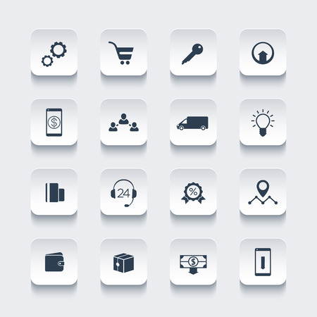 idea icon: E-commerce, online shopping, rounded square icons pack, vector illustration