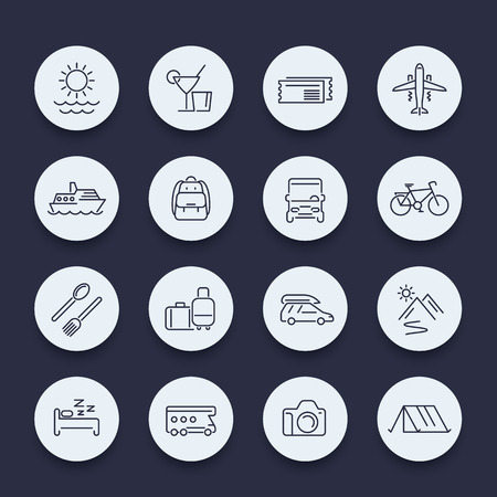 recreation: Travel, tourism, trip, recreation, vacation line round icons, vector illustration