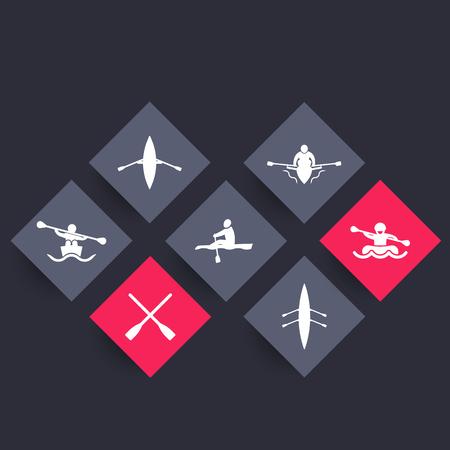 rower: Rowing, kayak, canoe, rower, rafting, oars rhombic icons, vector illustration