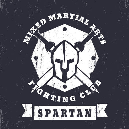 fighting styles: Spartan, MMA Fighting Club grunge vintage  , badge with spartan helmet and swords, vector illustration