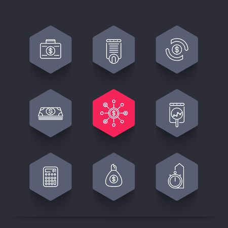 futures: finance, investments, investment analysis, funds line hexagon icons set, vector illustration
