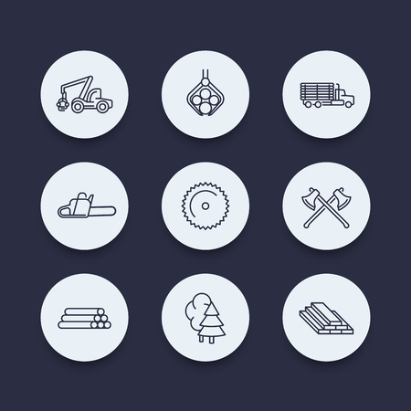 logging: Logging, forestry, timber, tree harvester, logging truck line round icons, vector illustration Illustration