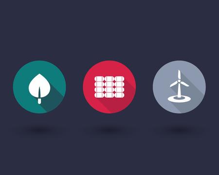 energetics: Solar, wind energetics, biofuel, alternative energy solutions, round flat icons, vector illustration