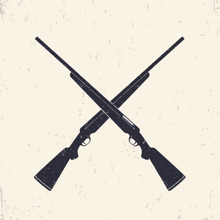 Crossed hunting rifles, vector illustration
