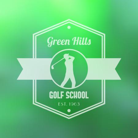 golfer swinging: Golf school white   badge, with golf player, golfer, vector illustration