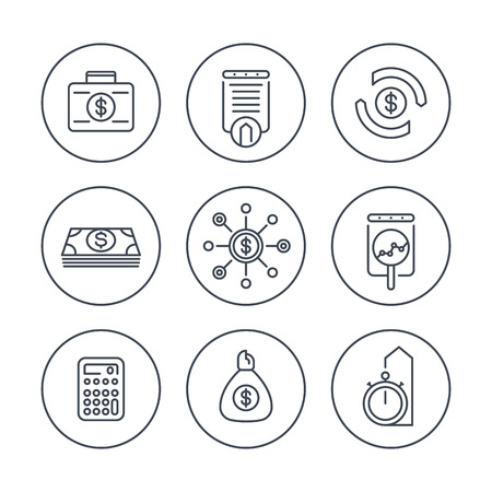 estimate: finance, investments, investment analysis, line icons in circles, vector illustration Illustration