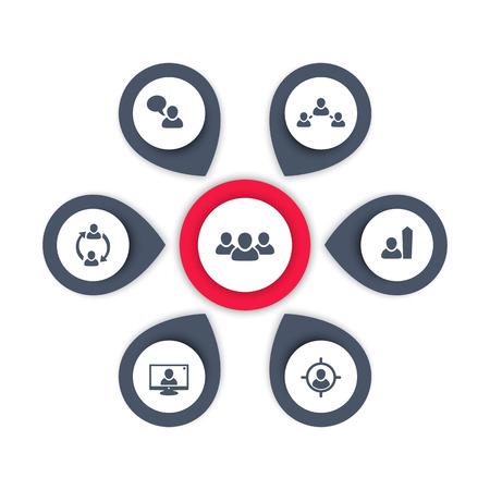 delegation: Personnel management, HR, human resources, HRM infographics elements, vector illustration