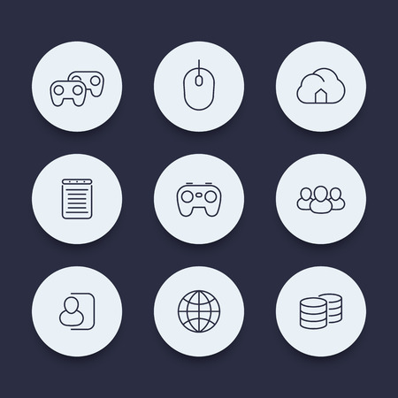 cooperative: videogames, cooperative, multiplayer, video console gaming, line round icons, vector illustration