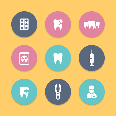 toothcare: Teeth, dental care, tooth cavity, toothcare, stomatology, round flat icons, vector illustration