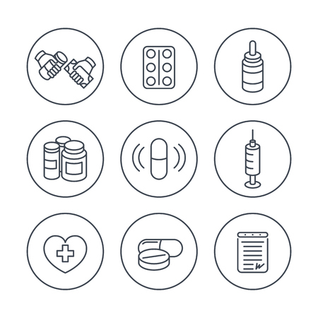 dispensary: medicine, drugs, pills, line icons in circles, vector illustration