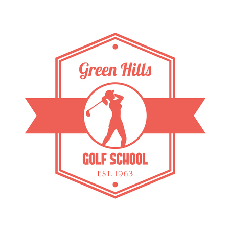 isolated over white: Golf school vintage  , sign, with golfer, female golf player swinging golf club, isolated over white, vector illustration Illustration