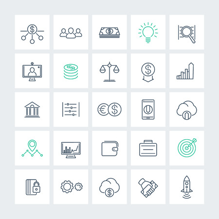 estimate: Venture capital, investments, startup, growth, line icons pack, vector illustration Illustration