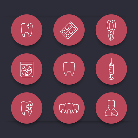 stomatology: Tooth, dental care, stomatology, line round red icons, vector illustration