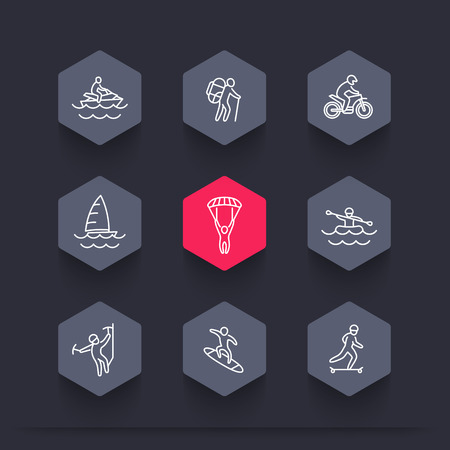 mountain silhouette: extreme outdoor activities line hexagon icons, vector illustration