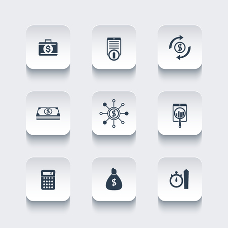 futures: finance, investments, capital rounded square icons, vector illustration