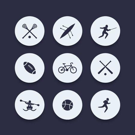 crosse: College sports round icons, vector illustration Illustration