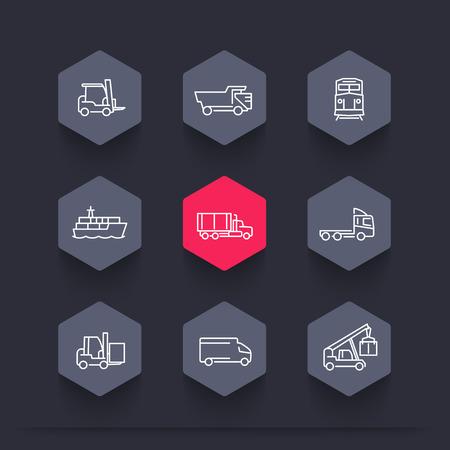 portage: Transportation, line hexagon icons, Forklift, Cargo ship, Freight train, Cargo truck, vector illustration
