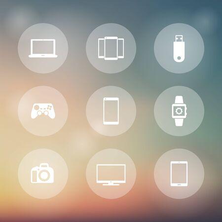 gadgets: Gadgets, round transparent icons, vector illustration